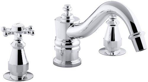 KOHLER K-T125-3-CP Antique Deck-Mount High-Flow Bath Faucet Trim with Six-Prong Handles, Valve Not Included, Polished Chrome