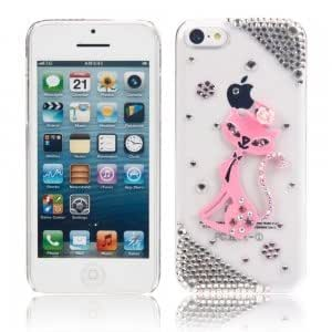 Rose Cat Pattern Rhinestone Protective PC Case for iPhone 5C