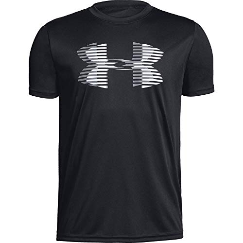 (Under Armour Boys' Tech Big Logo Solid T-Shirt, Black (001)/Steel, Youth X-Large)