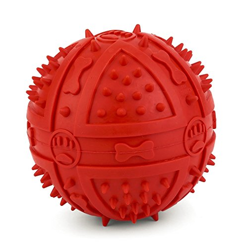 New Arrival Dog Chew Toy Rubber BB Ball Pet Thorn Squeak Biting Chewing Training Toy Massage Ball Throwing Sound, 3.5-inch (Red)