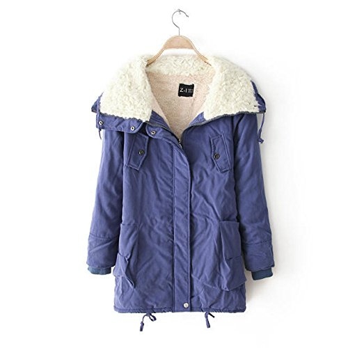 Lapel length Thickened Zipper Blue Coat Jacket Long DYF PO Medium sleeve Pocket ES7qfw8F