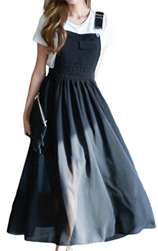 Casual Overall Pleated Adjustable Women Cromoncent Dress Strap Swing Black Chiffon fxqR51Cw