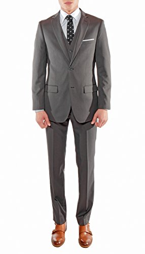 Men's Premium Ultra Slim Fit Vested Suit-Many Colors Includes a Free Necktie with a Matching Pocket Square (42 Regular/36 W, Charcoal (Charcoal Gray Tuxedo)