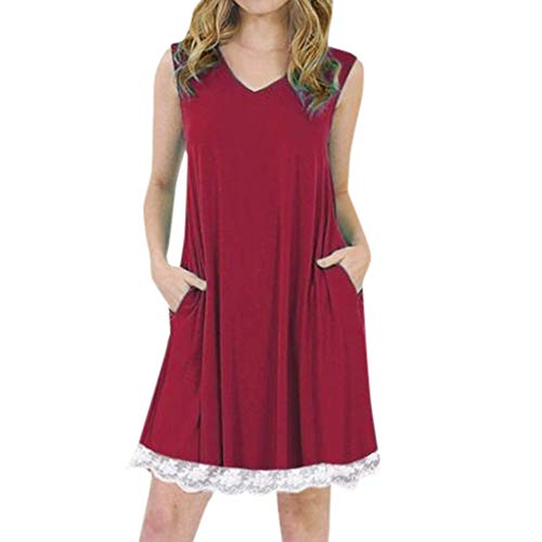 DondPo Women's Summer Casual T Shirt Dresses V-Neck Sleeveless Spaghetti Strap Plain Shift Dress with Pockets Wine -