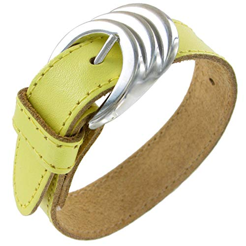 Adjustable Length Fashion Funk Rocker Chic Pastel Yellow Pleather Belt Buckle Adjustable Bracelet for Women