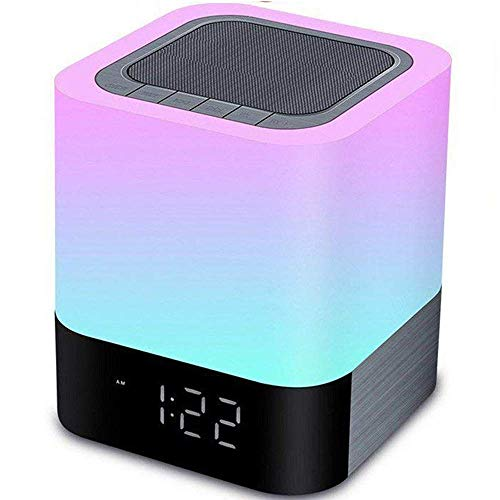 Aisuo Night Light - 5 in 1 Bedside Lamp with Bluetooth Speaker, 12/24H Digital Calendar Alarm Clock, Touch Control Lamp & 4000mAh Rechargeable Battery, Support TF Card & Aux Line, Ideal Gift for Kids