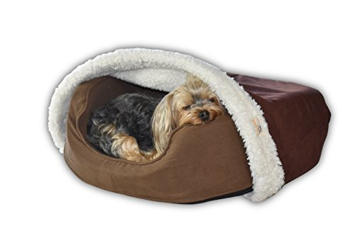 BedHug BEST Dog Blanket - Cat Blanket - Attaches to Your Own Pet Bed - Soft Burrow - Luxury Bed Blankets - MADE IN USA (Brown)- SMALL