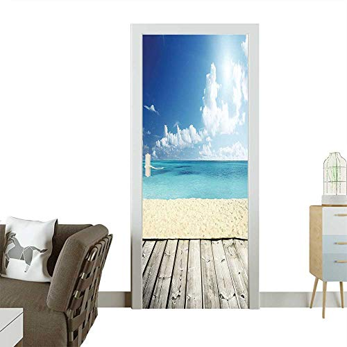 Door Sticker Wallpaper Image of Tropical Beach from Wooden Pier with Bright Sky Landscape Summer Fashion and Various patternW17.1 x H78.7 INCH -