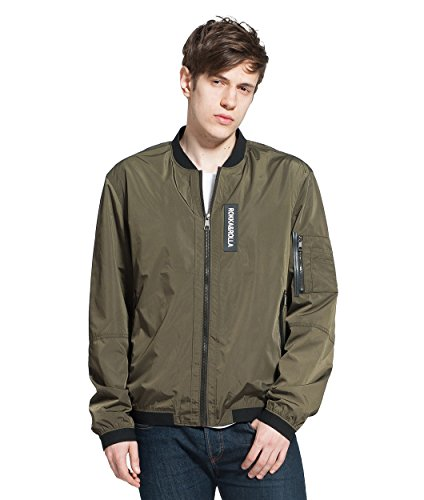 Rokka&Rolla Men's Lightweight Military Classic Flight Bomber Jacket Windbreaker, Army Green, X-Large