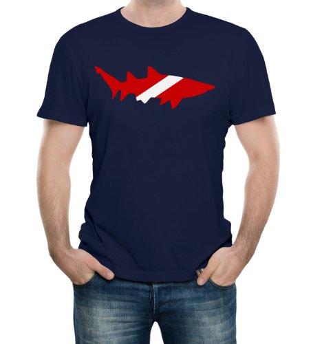 Shark Scuba Diving Flag Navy Adult T-Shirt - Medium Navy