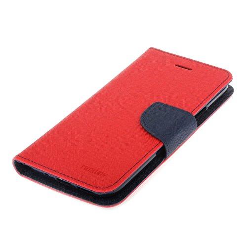 HTC 10 Funda,COOLKE Dos Colores Funda Carcasa Cuero Tapa Case Cover Para HTC 10 - Negro Marrón Rojo