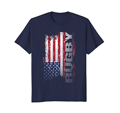 Flag Cotton Rugby Shirt - Mens USA Flag Rugby T-Shirt XL Navy