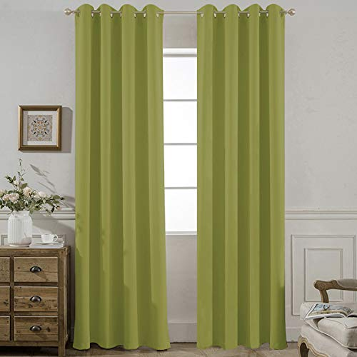 Yakamok Room Darkening Lime Blackout Curtains for Bedroom Thermal Insulated Window Panels, 52 W X 84 L Inch,Grommet Top,Set of 2 Panels Lime Curtains with Tie Backs (Curtain Panels Green Lime)