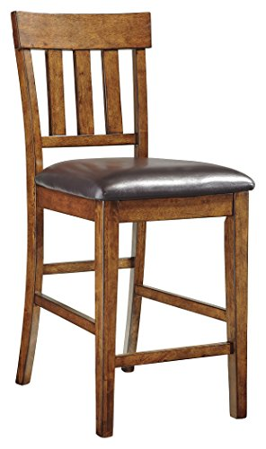 Ashley Furniture Signature Design - Ralene Upholstered Barstool - Rake Back - Set of 2 - Medium Brown (Design Back Stool Bar)