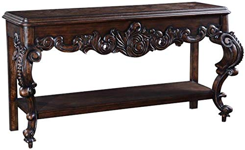Console Table Baroque Rococo Distressed Walnut -