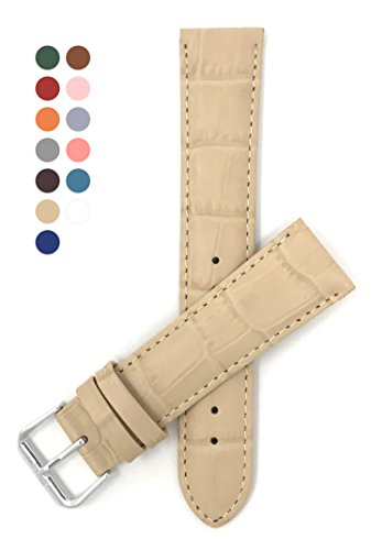 14mm Beige Womens' Alligator Style Genuine Leather Watch Strap (Beige Leather Strap Watch)