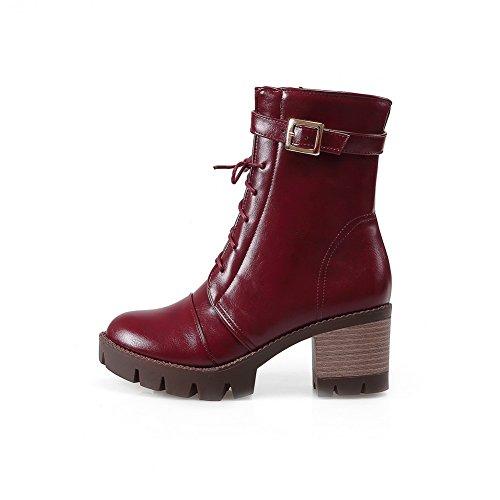 A & N Damene Bandasje Spenne To-tonet Imiterte Skinnstøvler Rød ...