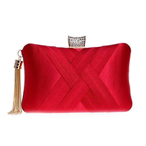 Pillow Shape Handbag Red Tassel Wedding Clutches Satin for Bag Flada with Evening Women R6wqS80