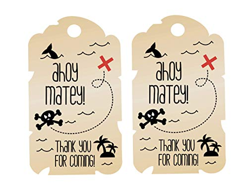 Pirate Thank You Tags 12 Pcs, Sailor Birthday Decoration Party Supplies, Captain Shower Themed, Ship Celebration (Jake And The Neverland Pirates Cupcake Wrappers)