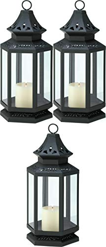 """3 Large Black 16"""" Colonial Country Western Candle Holder Lantern Outdoor Terrace Decorative Centerpieces for Living Dinning Room Table Decoration, Wedding Gifts"""