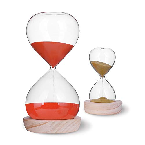 Hourglass Sand Timer Set-60 Minute & 5 Minute Timer Sets -Sand Clock Timers for Room Kitchen Office Decor -Time Management Tool with Wooden Base Stand (Hour Glass Red)