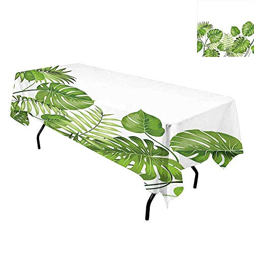 Leaf,Tablecloth for Kitchen Dining Tabletop,Nature Jungle Forest Rainforest Inspired Leaves Plant Foliage Swirls Botanic Image,for Dining Room,W60 x L102 Inch Light Green
