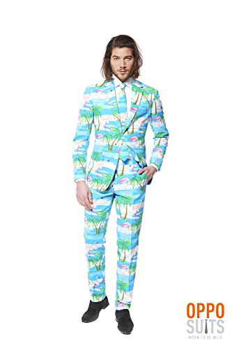 Do It Yourself Halloween Costumes Men (OppoSuits Men's Flaminguy-Party Costume Suit, Turquoise/Mixed, 48)