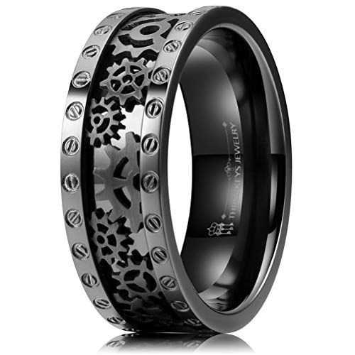 Thorsten Fish Hook Design Sport Fishing Print Pattern Flat Tungsten Ring 10mm Wide Wedding Band from Roy Rose Jewelry