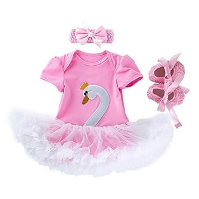NUWFOR 3PCS Toddler Baby Girls Cartoon Swan Princess Dress+Headbands+Shoes Set Outfit