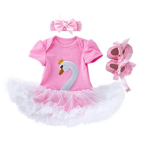 3PCS Toddler Baby Girls Cartoon Swan Princess Dress+Headbands+Shoes Set Outfit -