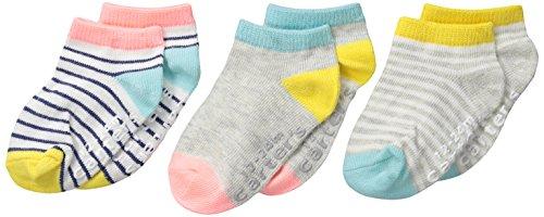 Carter's Baby-Girls Ankle Stripe Socks, Multi, 12-24/Medium Months (Pack of 3) by Carter's