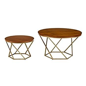 WE Furniture Geometric Wood Nesting Coffee Tables - Walnut/Gold