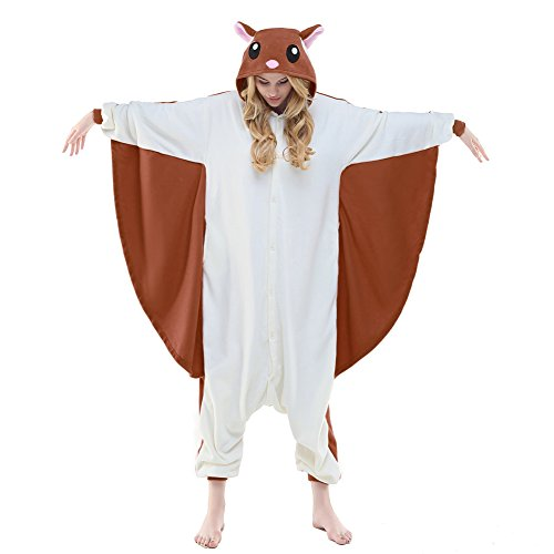 (NEWCOSPLAY Unisex Aduit Flying Squirrel Pajamas- Plush One Piece Costume (M, Coffee Flying)