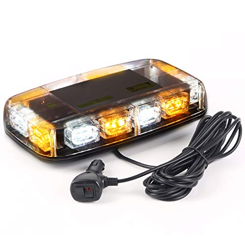 - VKGAT 36 LED Roof Top Strobe Lights, Emergency Hazard Warning Safety Flashing Strobe Light Bar for Truck Car, Waterproof and Magnetic Mount 12-24V (Amber/White)