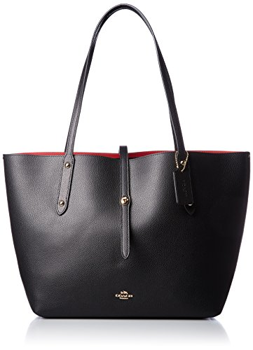 COACH Women's Polished Pebbled Leather Market Tote Li/Black/True Red One Size