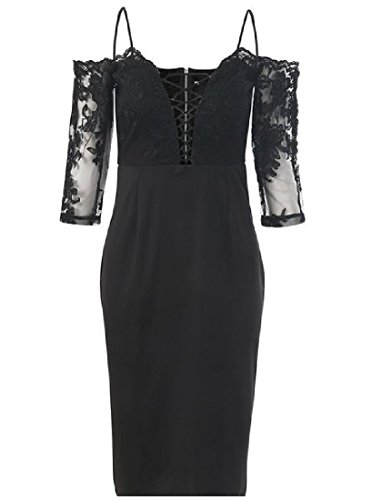 Coolred Slim Dress Deep Lace Shoulder Neck Women Mini Chic Solid V Off Black RZq4xTgRw