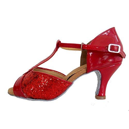Donna Ballo VASHCAME Rosso da Ballo Tacco Standard Latino Scarpe da Sala PAqxBdq