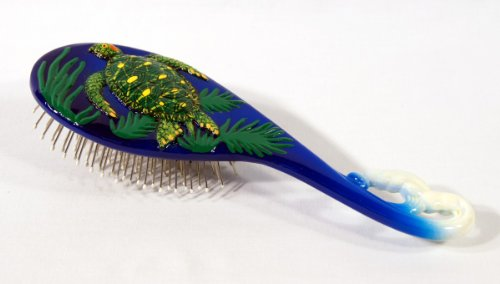 (Hand Painted Green Sea Turtle Hair Brush)