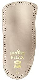 Pedag 127/128 Relax 3/4 Length Anatomically Shaped Leather Insole with Flexible Latex Heel Cup, Arch Support and Metatarsal Pad, Tan, Women\'s 10/Men\'s 7