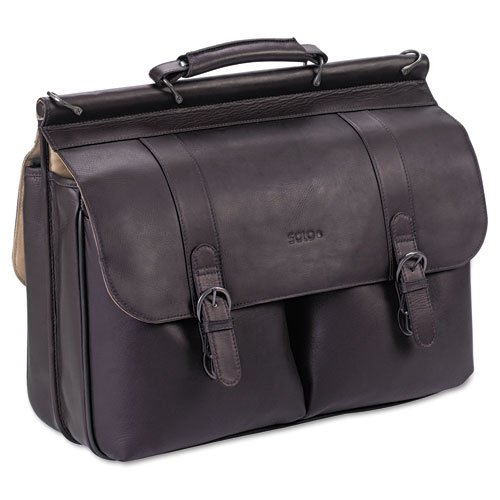 Solo Executive Leather Dowel Briefcase, Espresso, 16'' by SOLO