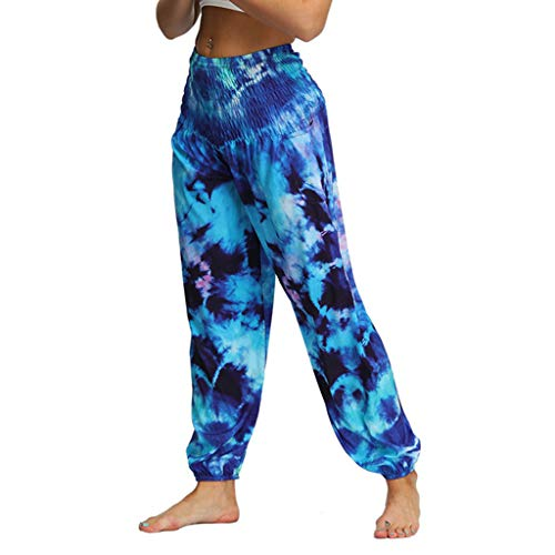 LISTHA Hippy Yoga Baggy Pants Men Women Casual Loose Boho Aladdin Trousers Blue ()