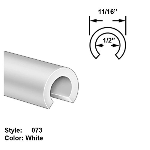 Food-Grade UHMW Plastic Round Push-On Trim, Style 073 - Outside Wd. 11/16'' - White - 25 ft long by Gordon Glass Co.