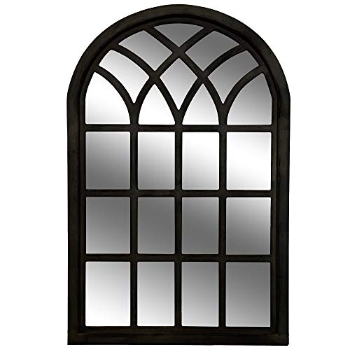 Windowpane Collection - Everly Hart Collection Farmhouse Cathedral Windowpane Wall Distressed Black Mirrors