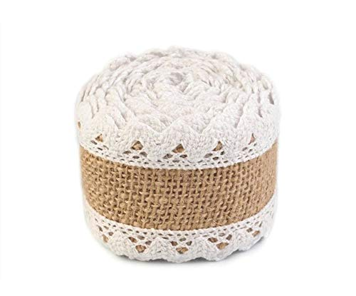 1pc Natural Burlap Jute Ribbon with Cotton Lace Width 54mm, Cotton Label, Cotton Bridal, Canvas Ribbon, Border Trim, Ribbons, Haberdashery