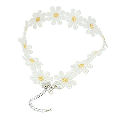 Price comparison product image ReFaXi Charming Daisy Flower Choker Chain Lace Floral Necklace Summer Festival Jewelry