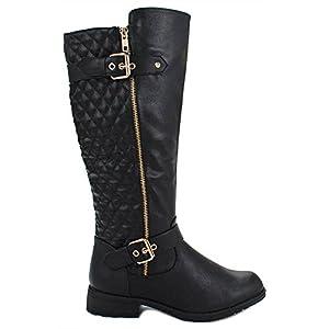 Forever Mango-21 Women's Winkle Back Shaft Side Zip Knee High Flat Riding Boots (7, Black_B-32)