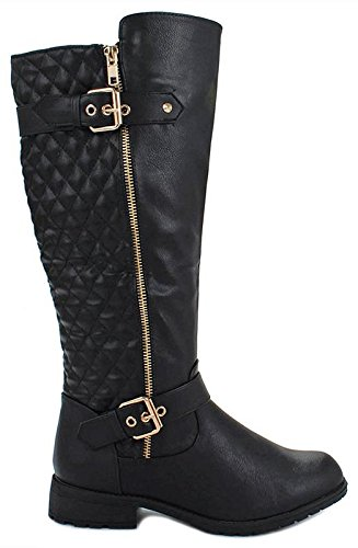 Forever Mango-21 Women's Winkle Back Shaft Side Zip Knee High Flat Riding Boots (7, Black_B-32)