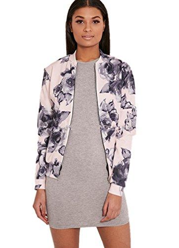 Sentao Mujeres Impreso floral chaqueta Corto Manga larga cremallera chaqueta de bombardero Como la imagen