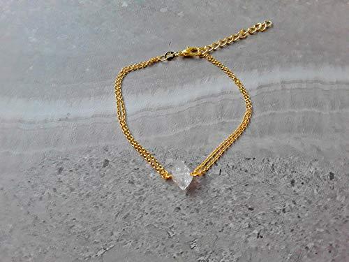 (Raw Herkimer Diamond April Birthstone Alternative Double Strand Chain Bracelet Gold)