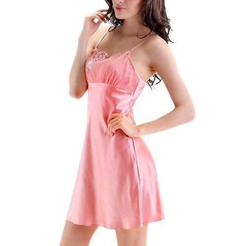 Sin Camisón Pink Color Puro Del Mangas Atractivo Verano Túnicas Con Mujeres Las De Cuello Atractivas Vestido Ropa Pico wtOqFT